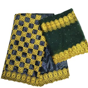 Tecido de renda africano de alta qualidade bazin riche getzner 2019 tecido nupcial indiano mais recente guiné brocado com pedras 5 + 2 jardas / lote