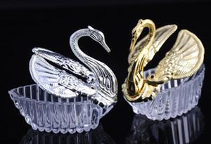 200 unids Acrílico Regalo de boda Favor de Swan Cajas Bomboniere Candy Caja de Decoraciones Favoritos Favores Gifts Topers Gold Silver Envío gratis