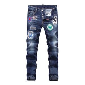 Benzersiz Erkek Rozet Mavi Slim Fit Jeans Moda Tasarımcısı Skinny Yıkanmış Motosiklet Denim Pantolon panelli Hip Hop Biker Pantolon