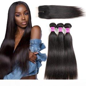 Brasilianische Glattes Haar Schüsse Mit Schließung 10A Jungfrau-Menschenhaar Weaves 3 Bundles mit Spitze Closure Extensions natürliche Farbe Wholesale