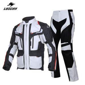 LYSCHY pantaloni impermeabili giacca moto Uomini 4 stagioni Motociclismo Suits Protect Completo Ciclismo traspirante multifunzione