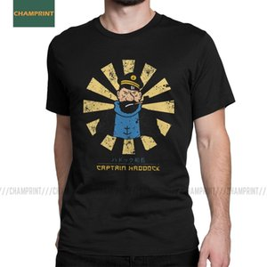 Capitão Haddock Retro japonesas As Aventuras de Tintin T Camisetas homens do algodão Herge Comic Dog nevado camisetas de manga curta T200224