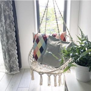 Çocuk Yetişkin Sallanan Tek Güvenliği Hamak Beyaz İçin İskandinav Stili Yuvarlak Hamak Açık Kapalı Yurt Yatak Asma Sandalye