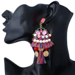 Statement Drop Earrings - Crystal Bohemian Beaded Dangle Earrings Gift for Women Ladies