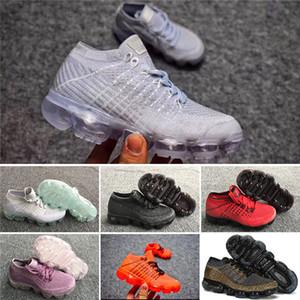 Nike VaporMax 2018 shoes Air Max de alta calidad Zapatillas de deporte para niños Zapatillas de deporte para niños del arco iris negro Zapatillas de tenis para niños y niñas
