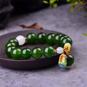 Pulseras de cristal de calcedonia verde 12 mm perlas con Cloisonne zapatos colgante pulsera Lucky para mujeres joyas regalo de cumpleaños regalo de los hombres la Sra.
