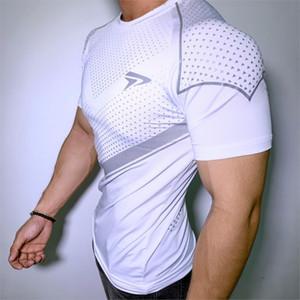 New Mens Compression maigre T-shirt Salles de sport Fitness culturisme t-shirt Homme d'été Workout Tee Jogger Casual Tops Marque Vêtements