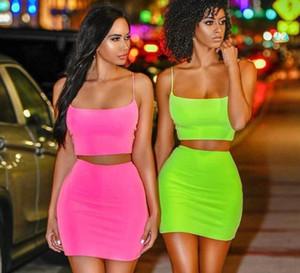 스파게티 스트랩 섹시한 CAMIS 스커트 2 개의 종 세트 여름 여성 패션 네온 녹색 오렌지색 고체 파티 스트릿