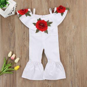 Мода Роза вышивка ползунки дети новорожденных девочек с плеча цветок ползунки комбинезоны брюки наряды одежда
