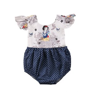 2018 Newborn Baby Girls Cartoon Flying Sleeves Polka Dot Jumpsuit Bodysuit Navy Blue Summer Outfits Clothes Sunsuit