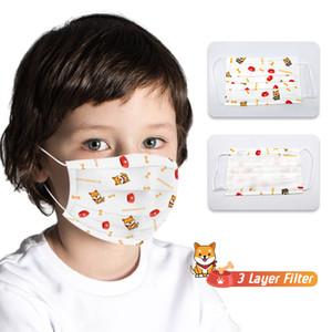 50 Stück 3 Ebenen Kinder Gesichtsmaske Cartoon-Maus gedruckt Kinder Einweg Non-Woven-Maske Bunte Grafik-Maske 4-12 Jahre Kind