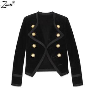 Women's Jackets Runway Autumn Winter Women Jacket Coat 2021 Designer Black Velvet Double-Breasted Long Sleeve Slim Short