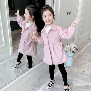 New 2020 Spring Autumn Girls Windbreaker Coat Pink Red Color Turn-down Collar Outwear Kids Girl Coats Jackets Children Clothing