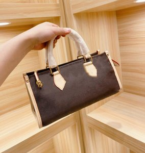 Fashion Brown Letter Flower Handbags Purses Classic Women messenger bag Shoulder Bags Lady Totes handbags 30cm With Shoulder Strap Bag