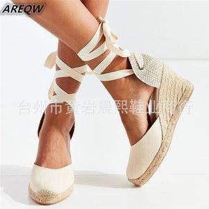 Women's Espadrille Ankle Strap Sandals Comfortable Slippers Ladies Womens Casual Shoes Breathable Flax Hemp Canvas Pumps MX190727 MX190730