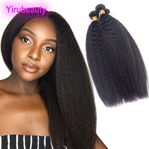 Brazilian Virgin Hair Kinky Straight 3 Bundles Human Hair Extensions Kinky Straight Yaki Wholesale Double Wefts Natural Color