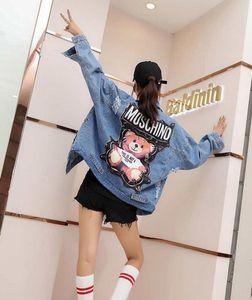 Moda-Erken Bahar Denim Ceket Kadınlar Yeni Koreli Gevşek Moda Koleji Gevşek Vahşi Harf Nakış Kısa Denim Ceket Kadın
