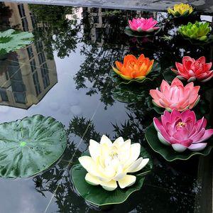 5 PCS 10cm flotante Lotus Artificial decoraciones de la boda de la flor del partido del jardín de bricolaje Nenúfar Mariage plantas artificiales