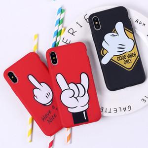 귀여운 만화 휴대 전화 액세서리 케이스 재미 제스처 아이폰 7 8PLUS XR X MAX를위한 TPU 전화 케이스 달콤한 열 케이스 포즈 배수