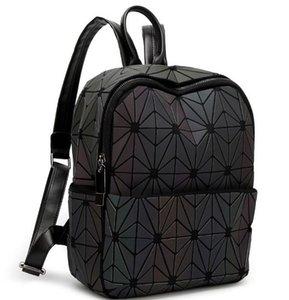 Le donne dello stilista-Luminous zaino grata di diamante del sacchetto di corsa geometrico Bag Teenage Girl scuola nottilucenti zaino 4 dimensioni