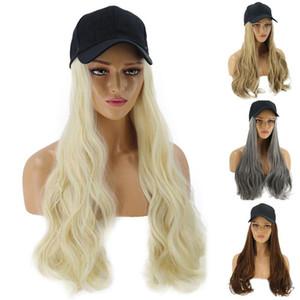 Muchacha de las mujeres peluca rizada larga sintética postizo de la extensión del pelo con la gorra de béisbol de moda sombrero de sol anti-ultravioleta Streetwear