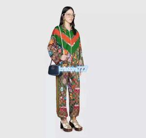 Frauenmädchenhemd Sets Reißverschlussjacke Sweatshirt Vintage-Shirts tops + Jogging-Trikot Hosen Hosen Runway outwear Trainings Flora drucken