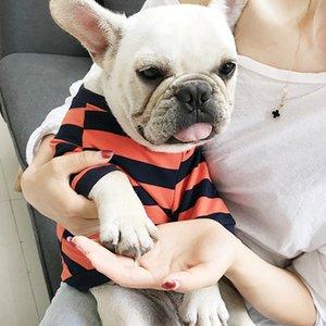 2020 Qualität Haustier 3 Katze Kleidung Farben Streifen Weste Kleidung Hund Hohe Mode Hund Kleine Schnauzer Kurzes T-Shirt CHBit