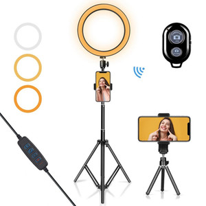 "10"" Floor Lamp Live Studio LED Light Ring Cell Phone selfie Photographie Dimmable 8W avec support de trépied mobile Bluetooth Caméra Make Up"