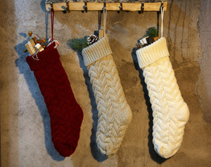 Nueva personalizada tejer artículos Navidad que almacena las reservas de mascotas de Navidad en blanco medias de las poblaciones de vacaciones en familia Medias decoración de interiores DO1413