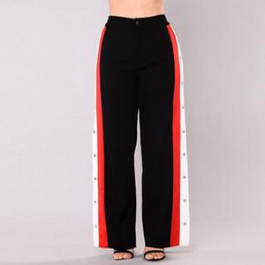 2018 Mode Active Freizeit Frauen Cut Split Side Buttons Wide Leg Pants Striped Gerade lose elastische Taillen-Hosen-7-Art