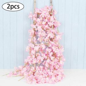 Garland Bitki Doğum Parti Süsleri Düğün Nişan yıldönümünü Asma 2PCS 2M Yapay Sakura Rattan Sahte Çiçek