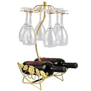 Wine Rack bouteille de vin Porte Porte-verre Coupe affichage Bouteilles de champagne Les stands Hanging Verres à vin Verres à pied en rack étagère Nouveau