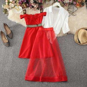 Women Puff Sleeve Kimono Chiffon Shirt Top Mini A Line Sequined Ruffle Spaghetti Strap Dress Mesh Skirts New Three Pieces Sets