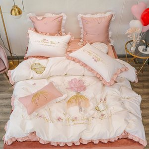 free shipping Small fresh embroidery yarn skirt stitching 60 long-staple cotton pure cotton girl style 4-piece soft waxy double quilt cover