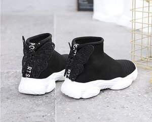 Children Sneakers Autumn Kids Socks Shoes Breathable Casual Diamond Super Beautiful Butterfly Knot Girls Mesh Sports Shoes 26-37