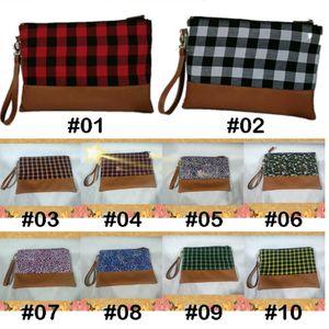 10 couleur Buffalo Plaid embrayage Buffalo Plaid rouge sac cosmétique femmes buffle sac à carreaux bracelet porte-monnaie sac avec fermeture à glissière ZJJ97