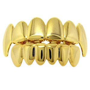 Gold Men and Women Unisex Fashion Hip Hop Teeth Grillz High Quality Jewelry Decorate Copper Teeth Braces Halloween decorative br