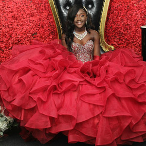 American Black Girls Red Quinceanera Dresses Ball Gowns Ruffles Organza Crystal Beaded Strapless Bandage Sweet 16 Dress Prom Graduation Gown