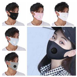 Valve Anti Toz Ayarlanabilir maskeler Yetişkin PM2.5 Maskeler Yeniden kullanılabilir Ağız Kül Buz İpek Koruyucu Maskeler 5 Renk CCA12036 Maske Solunum