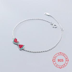 Китай Иу высокое качество S925 стерлингового серебра браслет для женщин геометрические арбуз браслеты лето любовник ювелирные изделия ручной работы чешский подарок