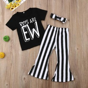 1-6T Kids Baby Girl Boys Are EW Print Tops Striped Long Pants 3Pcs Sunsuit Outfit Clothes Set Children's Clothing Wholesale