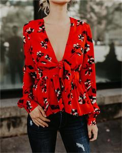 Delle donne calde di stile Shirts stilista stampata floreale Lace-up con scollo a V allentati camice camicetta casual donne bellissime abbigliamento