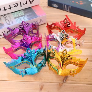 Mens Woman Halloween Mask Masquerade Masks Mardi Gras Venetian Dance Party Face gold shining plated Mask 6 colors T1I702