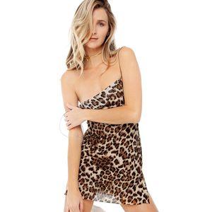 Nueva marca de las mujeres vestidos de fiesta sexy de moda de verano impreso leopardo mini falda sexy delgado sin espalda halter sin espalda vestido club de la moda vestido
