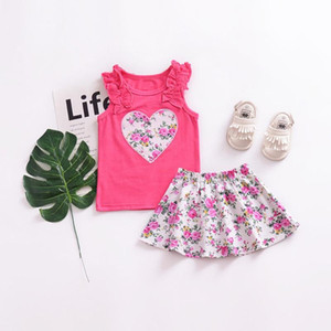 Cute Heart Sleeveless Top + Floral Short Skirt Two-Piece Set Beautiful For Casual Daily Wearing Fashionable Kids