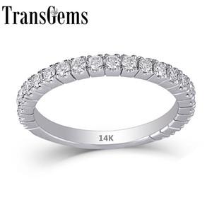 Transgems 14k 585 White Gold 0.48ctw 1.9mm Largeur de bande 1.7mm Moissanite Half Eternity Wedding Band superposable bande pour les femmes Y19032201