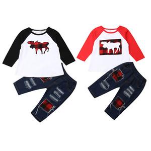 Focusnorm recém-nascido Crianças Bebés Natal roupas manga comprida rena Tops Patchwork Denim Calças Jeans Outono Roupas Roupas