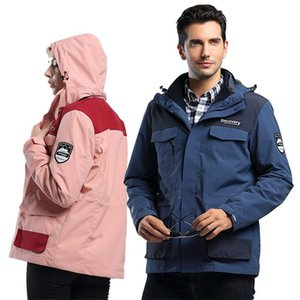 3 en 1 hiver Twinset Hommes Femmes veste à manches longues manteau à capuche Zipper Vestes en polaire douce et chaude coupe-vent Manteaux Vêtements d'escalade Vêtements Vente