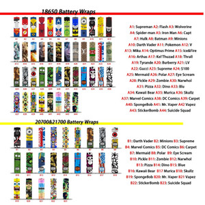 79 Designs für 18650 20700 21700 Batterieverpackungen Vape PVC-Außenhautaufkleber Schrumpfverpackungshülle Wärmeschrumpfverpackungsverpackung