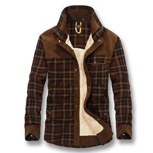 2019 Men Autumn Winter Thick Fleece Plaid Shirts Camisa Masculina Male Casual Fashion Slim Fit Large Size Winter Shirt